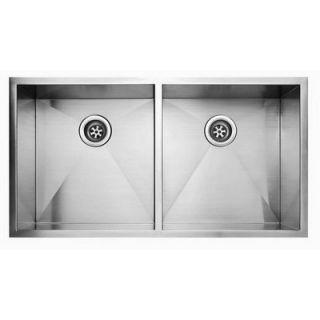 Fluid 37 x 20 Stainless Steel Undermount Double Bowl Kitchen Sink
