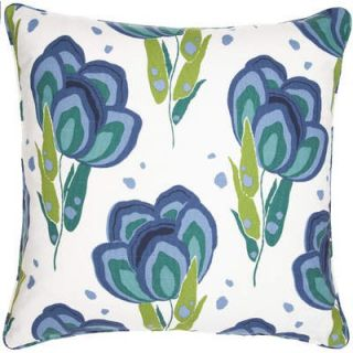 Cone Hill Graphic Traffic Happy Poppies 26 Decorative Pillow in Blue
