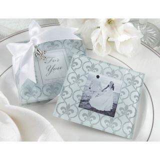 Kate Aspen Fleur De Lis Frosted Glass Photo Coaster (Set of 2