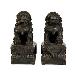 Oriental Furniture 9 Foo Dog Statues in Dark Faux Antique Bronze