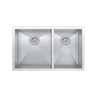 Water Creation 33 x 20 Square Sink 60/40 Double Bowl Stainless Steel