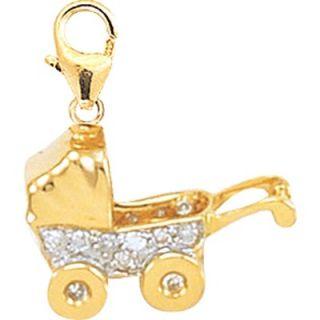 EZ Charms 14K 1.37 Grams Yellow Gold Diamond Baby Carriage Charm