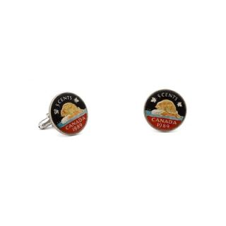 Penny Black 40 Hand Painted Canadian Nickel (5 Cent Coin) Cufflinks