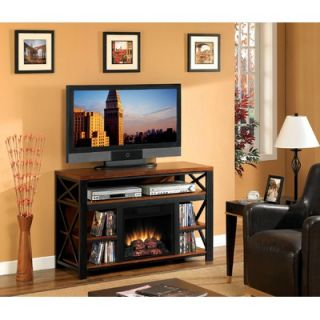 Furnitech Contemporary 64 TV Stand with Curved Electric Fireplace