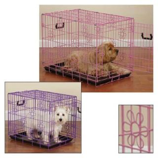 Pet Gear Deluxe Steel Dog Crate in Pink