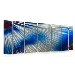 by Ash Carl Metal Wall Art in Blue and White   23.5 x 60   SWS00063