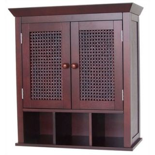 Elegant Home Fashions Cane Two Door Wall Cabinet with Cubbies   6018