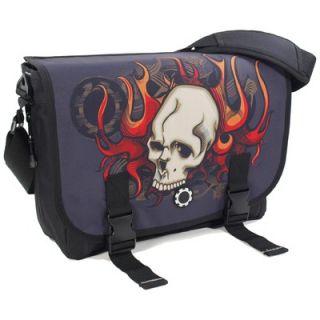 DadGear Skull & Flames Messenger Diaper Bag   MB GA SF
