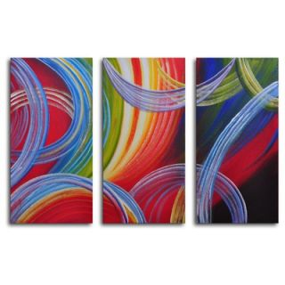 My Art Outlet Hand Painted Yarn Gone Wild 3 Piece Canvas Art Set