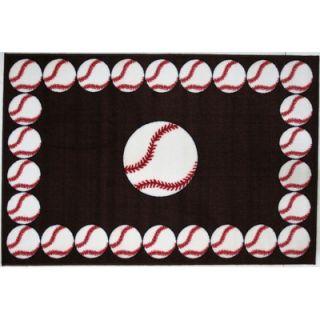 Fun Rugs Fun Time Baseball Time Red Kids Rug   FT 91