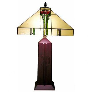 Warehouse of Tiffany Wooden Mission Table Lamp   2616+BB723