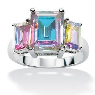 Palm Beach Jewelry Sterling Silver Aurora Borealis Cubic Zirconia Ring