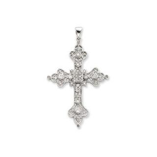 Jewelryweb Sterling Silver CZ Filigree Cross Pendant   QTP117102NC