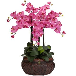 Nearly Natural Large Phalaenopsis Silk Flower Arrangement in Dark Pink