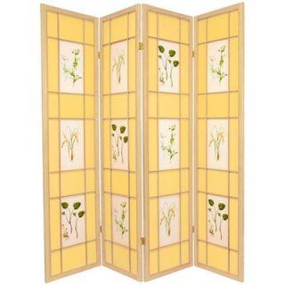Oriental Furniture Herbal Scene Shoji Room Divider in Natural   SHFL