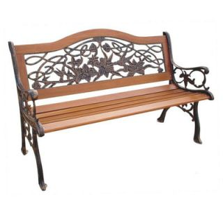 DC America Trio Hummingbird Wood and Cast Iron Park Bench
