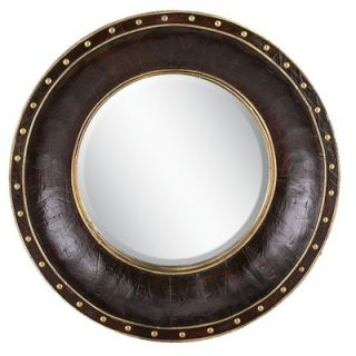 Aspire Round Faux Leather Wall Mirror