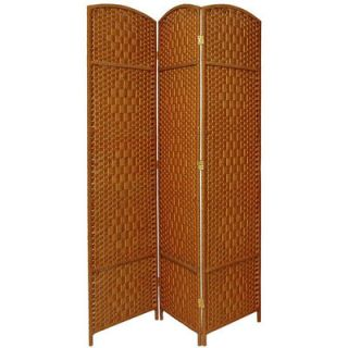 Oriental Furniture Diamond Weave 3 Panel Room Divider in Dark Beige