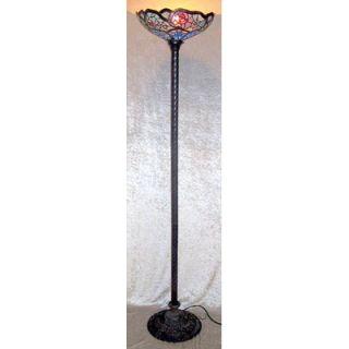 Warehouse of Tiffany Floral Cobweb 2 Light Torchiere Lamp   BB75