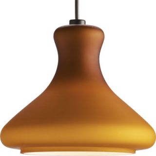 Progress Lighting Illuma Flex Bell Bottom Mini Pendant in Amber Glass