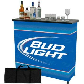 Trademark Global Bud Light Shelf Portable Bar Table with Carrying Case