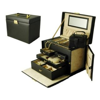 Budd Leather Ladies Classic Large Jewelry Box with Side Doors in Black
