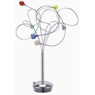 Lite Source Jujoobi Six Light Table Lamp in Chrome with Colored Glass