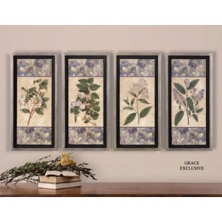 Uttermost Blue and Lilac Wall Art in Hand Applied Dabb (Set of 4