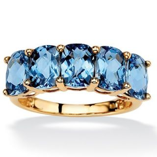 Palm Beach Jewelry 18k Gold/Silver Oval Cut London Blue Topaz Ring