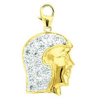 EZ Charms 14K Yellow Gold Diamond Girls Head Charm