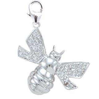 EZ Charms 14K White Gold Diamond Bumblebee Charm