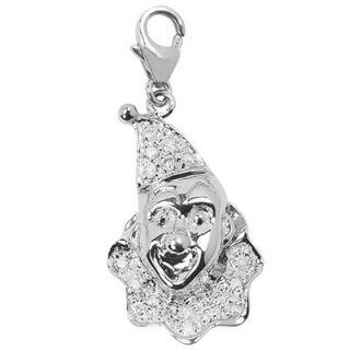 EZ Charms 14K White Gold Diamond Clown Charm