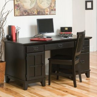 Home Styles Arts and Crafts Pedestal Computer Desk with 2 Drawers on