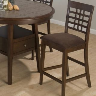 Jofran Weave Grid Counter Height Stool with Chocolate Microfiber Seat