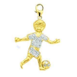 EZ Charms 14K Yellow Gold Diamond Boy Soccer Player Charm