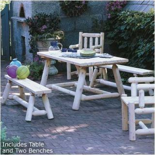 Rustic Cedar Classic Farmers Table and Bench Set
