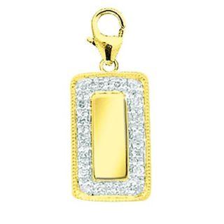 EZ Charms 14K Yellow Gold Diamond Rectangular Disc Charm