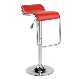 Faux Leather Thin Seat Adjustable Height Bar Stool in White   211 847