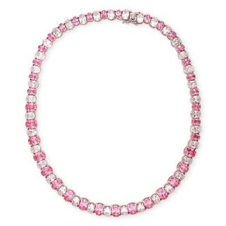 CZ Collections Silver Prong Set Pink Sapphire Diamond Tennis Necklace