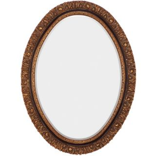 Crestview Beveled Square Scrolled Wall Mirror in Antique Gold