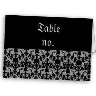 Elegant Gothic wedding table number cards Business Card Template