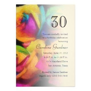 Any Number Birthday Invitation Rainbow Roses