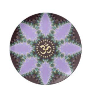OM Art Purple Fractal Flower Gift Plate