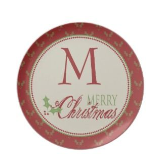 Holly Pattern Monogram Christmas Plate
