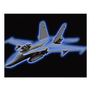 18 Hornet Blue Fighter Jet Personalized Invitations