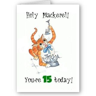 whimsical birthday card for a 15 year old with a cat and a bowl of