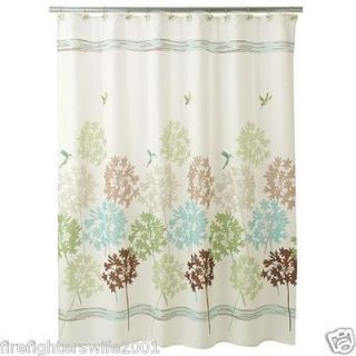 Freespirit Garden Pond Shower Curtain Green Teal Brown Floral