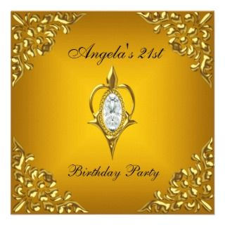 21st Birthday Party Royal Gold Yellow Jewel Custom Invites
