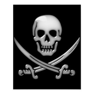 Glassy Pirate Skull & Sword Crossbones Poster