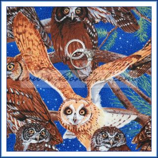 Fabric Winter Night Blue Sky Star Tree Owl White Bird Great 4 Harry